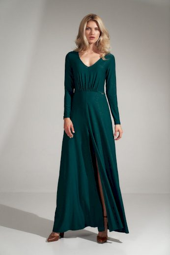 Jednobarevné maxi šaty s rozparkem  M727 FIGL