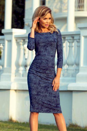Pouzdrové šaty džínové s 3/4 rukávem NUMOCO 59-19 XL