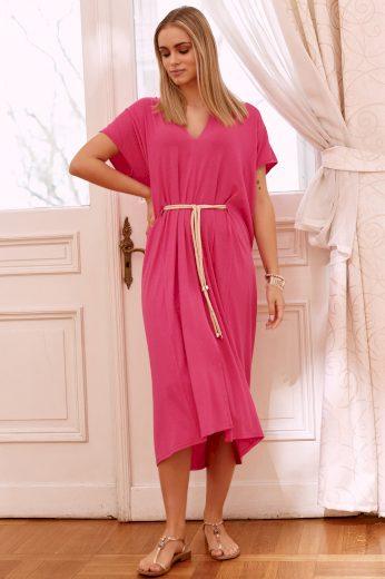 Lehké letní šaty oversize šaty délky midi s netopýřími rukávy M638