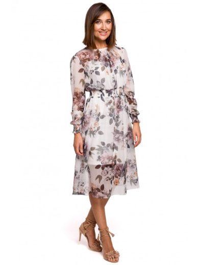 Šifónové midi šaty s dlouhým rukávem s květinovým potiskem S213
