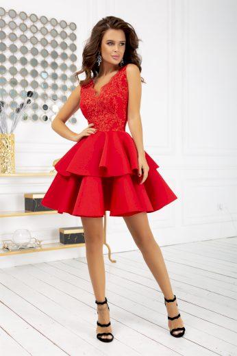 Krajkové šaty koktejlové mini šaty s dvojitou volánkovou sukní