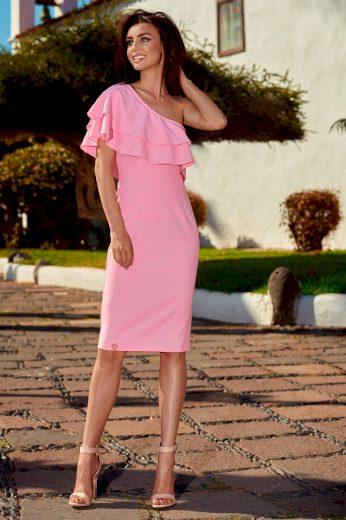 Midi šaty přiléhavé s ozdobným volánem