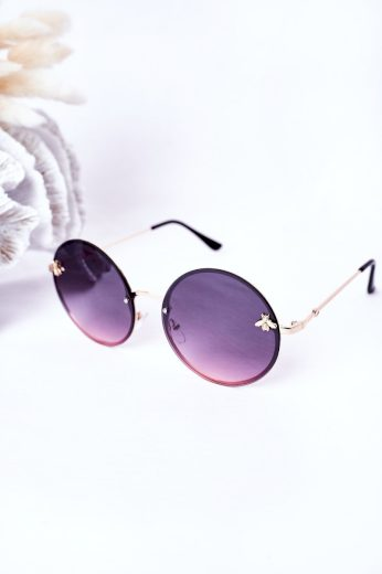 Zlaté Sluneční Brýle S Muškou Růžove Ombre