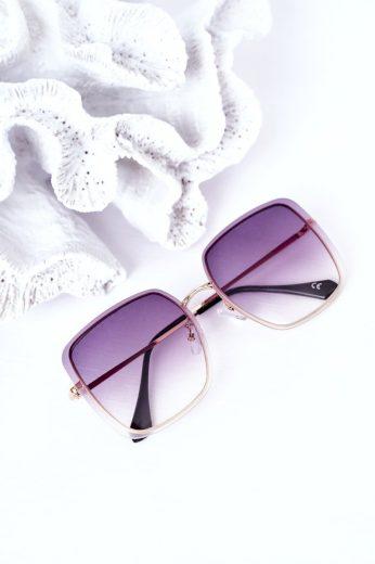 Zlaté Hranaté Brýle Hnědo-Růžové Ombre