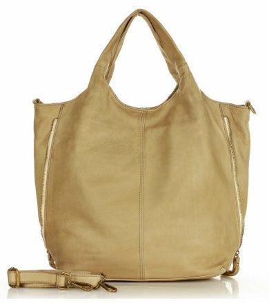Prostorná kabelka vintage shopper kožená taška s bočními zipy