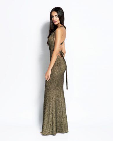Lesklé plesové šaty Cindy maxi s překříženými zády