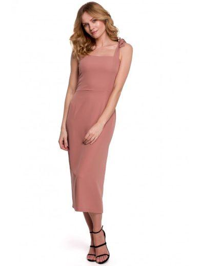 Midi šaty s vázacími ramínky MAKEOVER K046