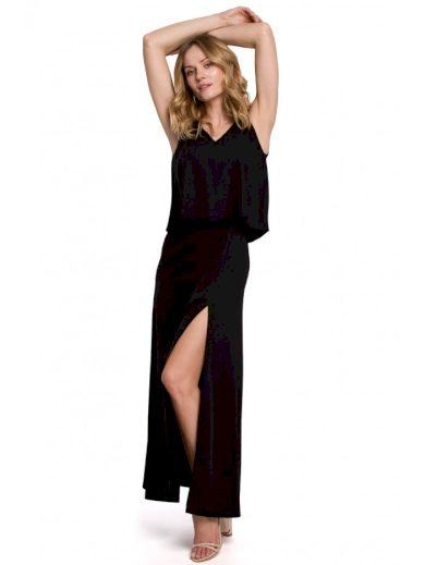 Maxi dlouhé šaty s volánkem a rozparkem K048