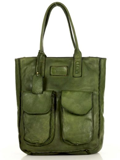Kožená kabelka handmade shopper taška s kapsami old pelle