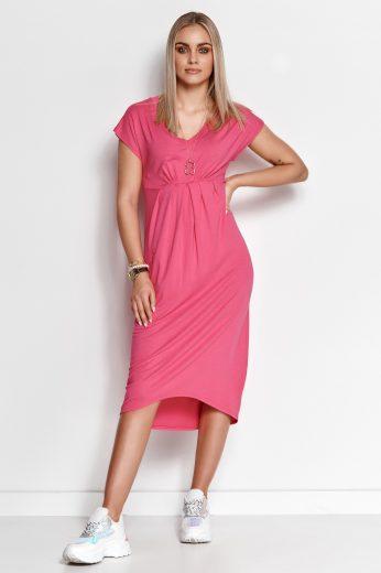 Asymetrické šaty viskózové midi délka s krátkými rukávy a výstřihem
