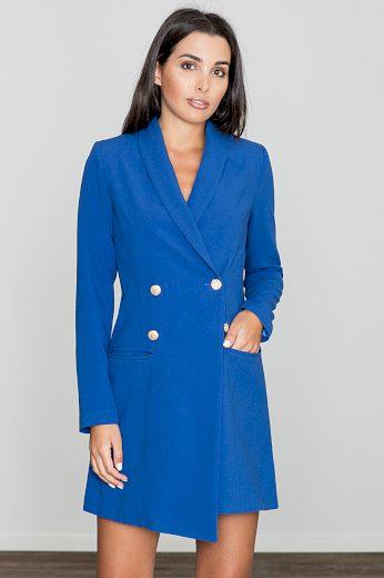 Modré sakové šaty dvouřadé se zlatými knoflíky - XL
