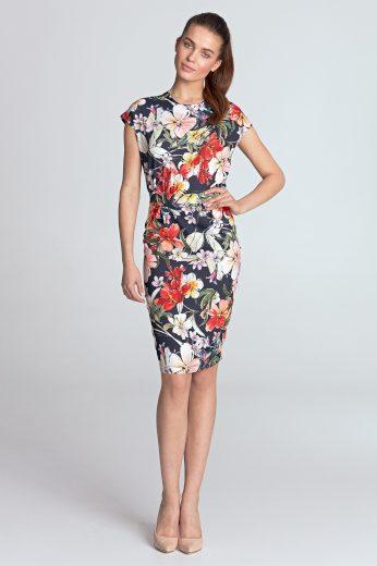 Klasické pouzdrové šaty s potiskem na léto - S