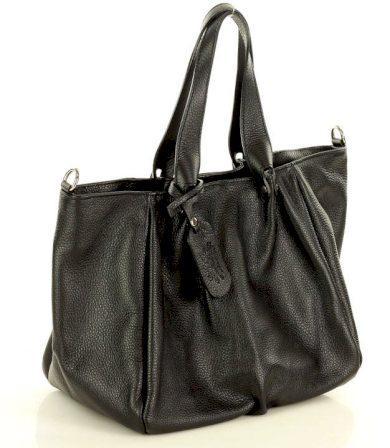 Marco Mazzini kožená trapézová kabelka klasická černá