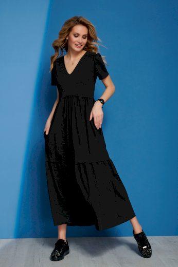 Maxi bavlněné šaty s véčkovým výstřihem a krátkým rukávem