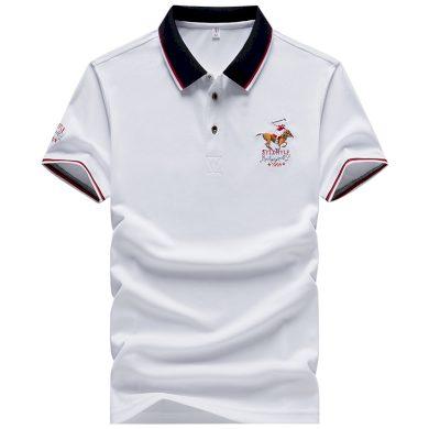 Pánské polo s kontrastními pruhy bavlněné tričko s límečkem
