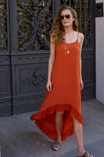 Asymetrické letní šaty s volánkem MAKADAMIA L8
