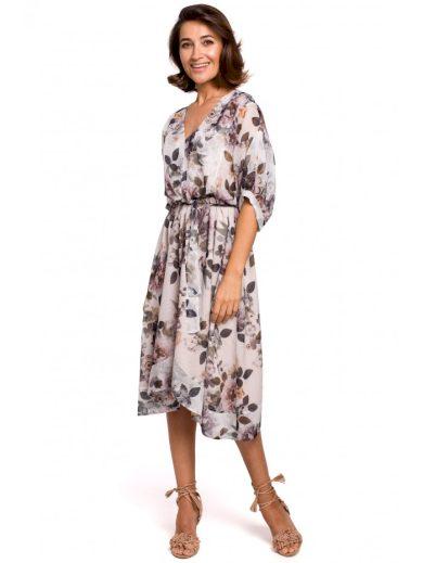 Šifónové midi šaty s potiskem květů STYLE S226