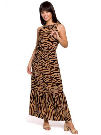 Šaty s ohlávkovým výstřihem potisk Zebry BEWEAR B158