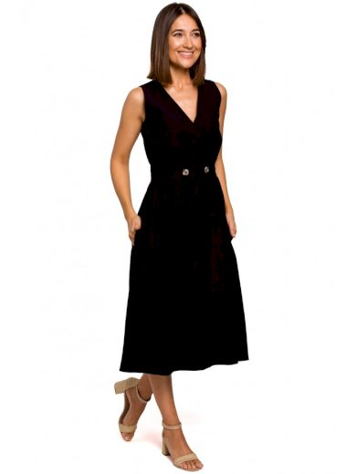 Obálkové šaty bez rukávů s výstřihem do V STYLE S224
