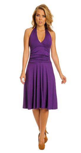 Dámské midi koktejlové fialové šaty s vázáním za krkem - 4XL