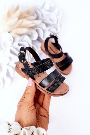 Dětské Lesklé Sandály Stříbrné Natalie