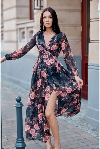 Maxi černé šaty s módním květinovým vzorem 3XL