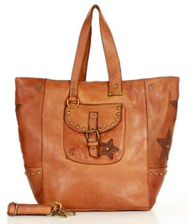 Originální kožená taška s kapsou shopper kabelka s hvězdami