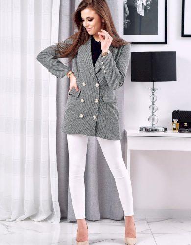 Černo-bílé sako kostkovaný kabátek na knoflíky
