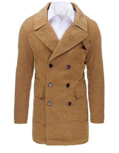 Pánský zimní dvouřadý kabát na knoflíky s kožešinovou podšívkou