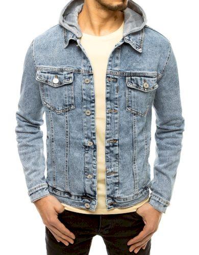 Pánská riflová bunda s kapucí odřená džínová bunda na knoflíky