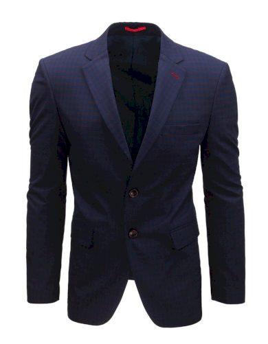 Kostkované pánské sako na každý den v tmavě modré barvě