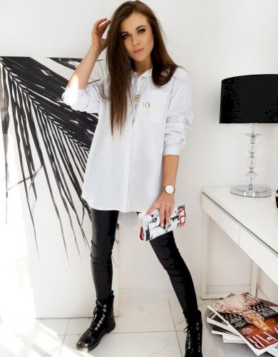 Bílá oversize košile s aplikaci na kapse