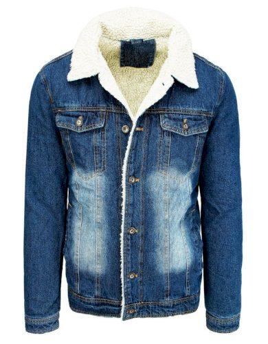 Pánská džínová bunda na knoflíky bunda s kožešinovou podšívkou