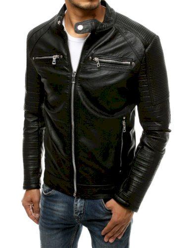 Kožená černá bunda se zipem pánská z ekologické kůže
