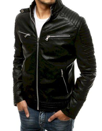 Černá pánská kožená bunda z ekologické kůže, zapínání na zip.