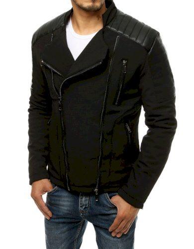 Černá pánská bunda bez kapuce ozdobena zipy bunda na každý den