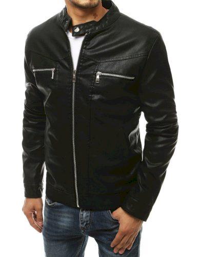 Černá kožená bunda se zipy na hrudi a límcem na druk