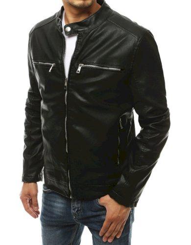 Černá pánská kožená bunda elegantní s kapsami na zip