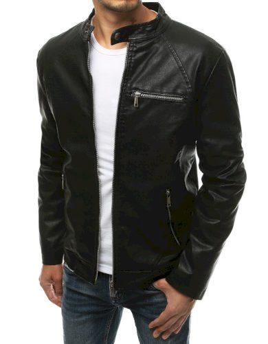 Pánská kožená bunda s kapsami a límcem na druk