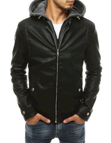 Pánská kožená bunda na zip s odnímatelnou teplákovou kapucí