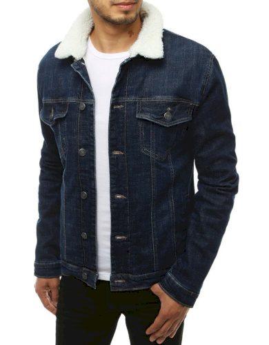 Džínová bunda Pánská riflová bunda na knoflíky se širokým límcem