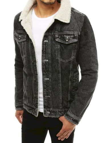 Riflová bunda pánská s kožešinou denim s odřeninami
