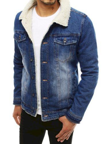 Modrá džínová bunda pánská riflová bunda s kapsami na hrudi