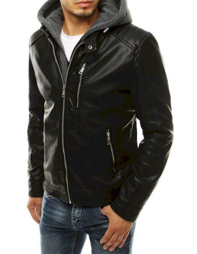 Pánská koženková bunda na zip s teplákovou kapucí