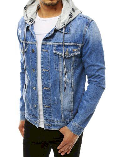 Pánská riflová bunda na knoflíky s odnímatelnou kapucí