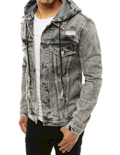 Černá riflová bunda s oděrkami džínová bunda pánská s kapucí