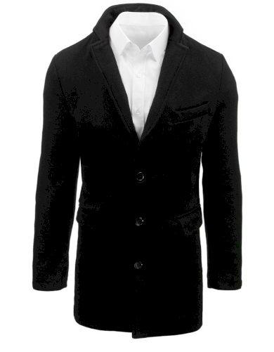 Pánský černý kabát na knoflíky s podšívkou a kapsami