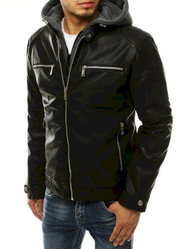 Pánská kožená bunda s odnímatelnou bavlněnou kapucí
