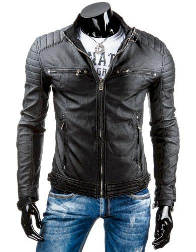 Pánská koženková přechodová bunda s prošíváním