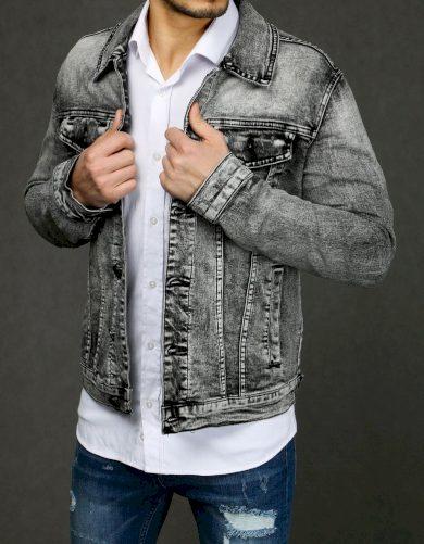 Šedá džínová bunda s potiskem a nápisy na zádech